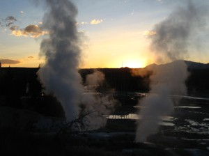 Norris Geyser Basin at Dusk