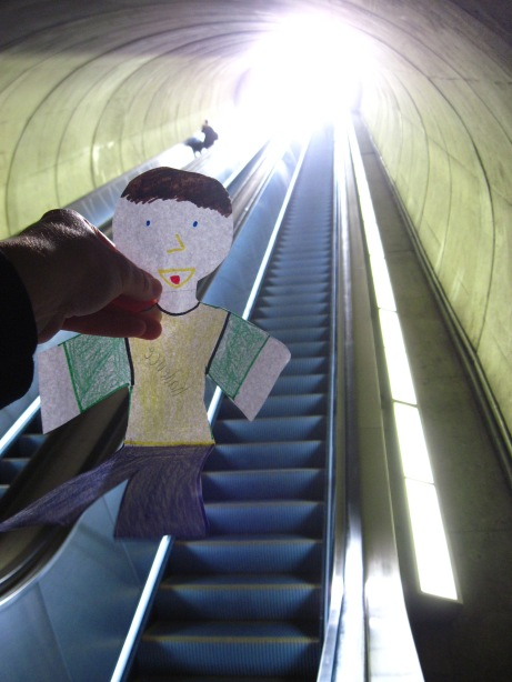 Metro? Forget the trains! Flat Stanley couldn't get enough of the escalator (all 319 stairs of it).