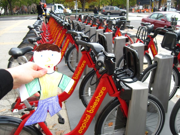 Walking: it's like riding a bike. Flat Stanley said Capital Bikeshare is one of the coolest bike share projects he's ever seen.