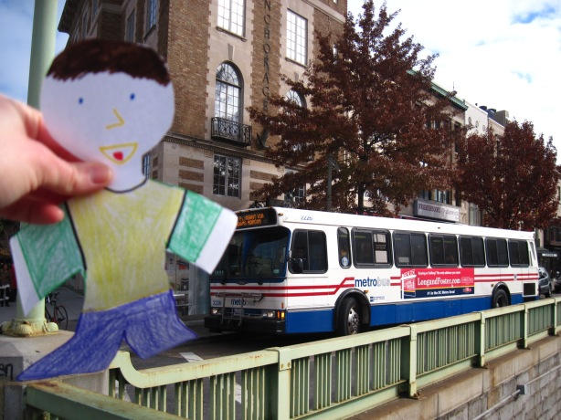 Flat Stanley said his favorite thing about busses is the people-watching.