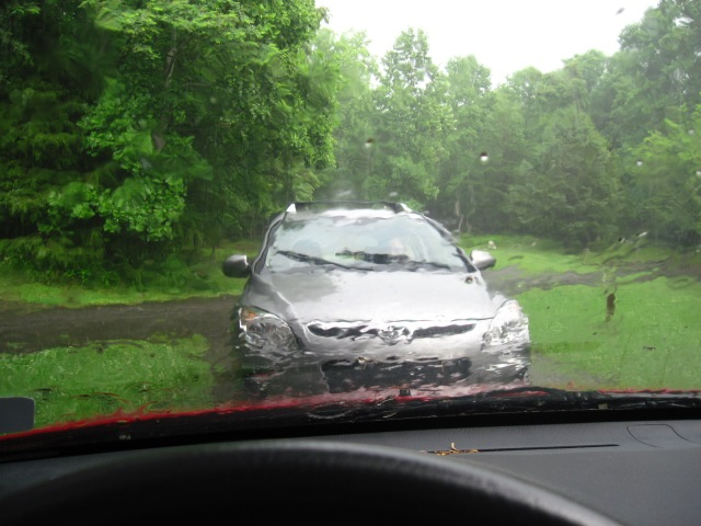 Downpour + car