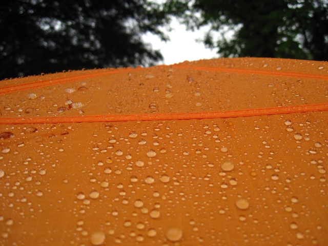 Tent with raindrops