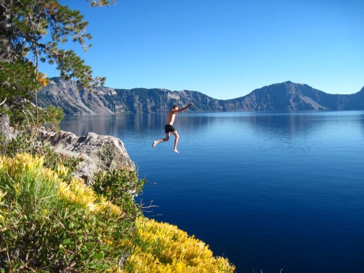 Here is my brother jumping into Crater Lake. We heart Oregon!