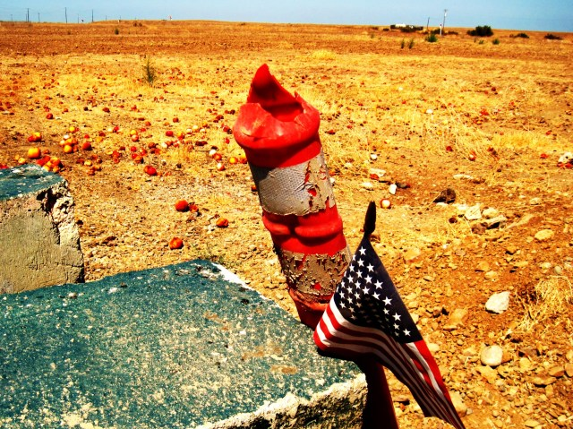 I decided to hipster this pic out a bit. I call it Wasteland. Bunch of rotting peaches tossed out on the desert behind a farm stand in California. This reminded me of the piles of oranges doused with gasoline in The Grapes of Wrath.
